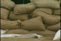 Natural disaster, sandbagged home during flood Stock Footage