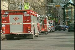 Fire, two fire trucks, ambulance arrives Stock Footage