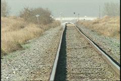 railroad, railway track, long lens, heat ripples - stock footage