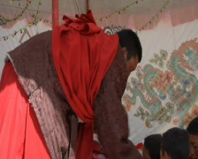 Donations in tent Stock Footage