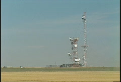 Large microwave array on prairie Stock Footage
