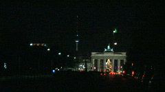Berlin brandeburger gate alex night Stock Footage