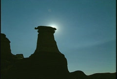 Sunrise over hoodoos Stock Footage