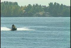 Lake jet-ski motorboat Stock Footage