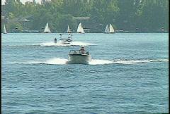 Motorboat water ski, lake, #2 Stock Footage