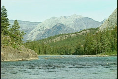 Bow river flowing, Banff Stock Footage