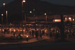 Early morning anonymous croud gathering for Tour de Tucson 2008 Stock Footage