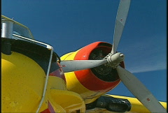 Aircraft, CL215 waterbomber, #5 tight on engine prop Stock Footage