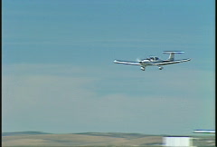 Aircraft, light plane landing, Diamond DA40 Stock Footage