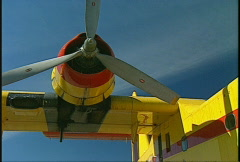 Aircraft, CL215 waterbomber, #2 prop Stock Footage