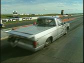 Stock Video Footage of motorsports, drag racing, silver pickup launch