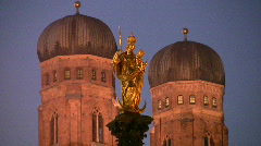 Germany Munich Frauenkirche Church of our Lady Christmas fair Stock Footage
