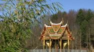 Germany Munich West Lake Thai temple frozen lake Stock Footage