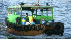 Chinese junks sampan in harbor harbour Stock Footage