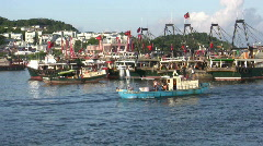 Chinese junks sampan in harbor harbour Stock Footage