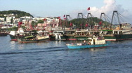 Stock Video Footage of Chinese junks sampan in harbor harbour