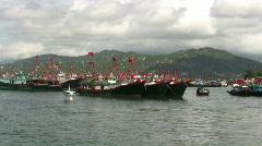 Hong Kong Chinese junks sampan in harbor harbour Stock Footage