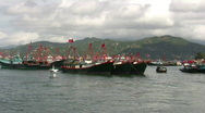 Stock Video Footage of Hong Kong Chinese junks sampan in harbor harbour
