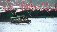 Chinese junks sampan boats in harbour harbor - stock footage
