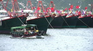 Stock Video Footage of Chinese junks sampan boats in harbour harbor