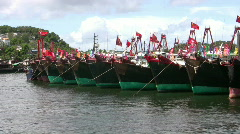 Chinese junks boats sampan in harbour harbor Stock Footage