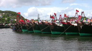 Stock Video Footage of Chinese junks boats sampan in harbour harbor
