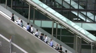 Stock Video Footage of China Hong Kong financial district commuters pedestrians on escalator