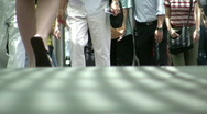 Stock Video Footage of China Hong Kong financial district busy commuters pedestrians walking