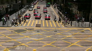 Stock Video Footage of China Hong kong financial district Downtown commuter Crosswalk intersection
