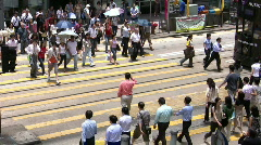 China Hong kong financial district Downtown commuter Crosswalk intersection Stock Footage