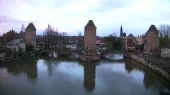 France Alsace Strasbourg Les Ponts Couverts Stock Footage