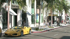 Ferarri on Rodeo Drive in Hollywood Stock Footage