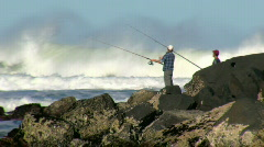 Rock Fishing in Large Surf Stock Footage