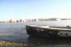 Rack Focus Long Shot View of Marina Harbor Docks Stock Footage
