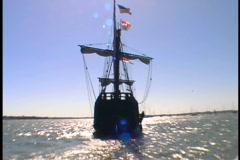 Wooden Sailing Ship Sailing Away Stock Footage