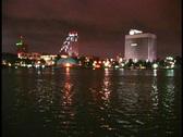 Downtown City Night Over Water Urban Orlando Skyline Nightlife Stock Footage