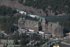 Banff Springs Hotel CU from Sulphur mt Stock Footage