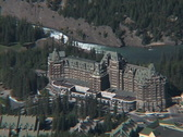 Stock Video Footage of Banff Springs Hotel CU from Sulphur mt