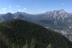 Banff town centre from Suphur Mt Stock Footage