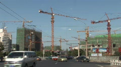 Cranes and traffic in Beijing Stock Footage
