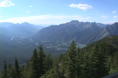 Bow River Valley pan High angle WS Stock Footage