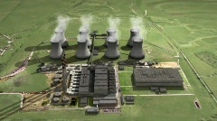 Aerial view big power station looped Stock Footage