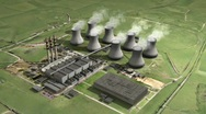 Stock Video Footage of Aerial view big power station looped