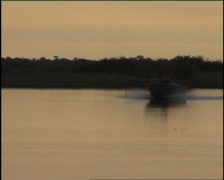 Corroboree Billabong Sunset Boat Arrives Stock Footage
