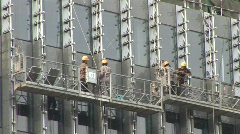 Chinese construction - Scaffolding Elevator - stock footage