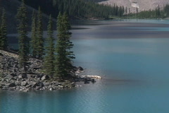Moraine Lake pull out Cu to WS Stock Footage