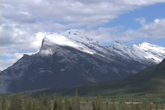 Mt Rundle pull reveal Vermillion Lake Stock Footage