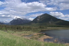 Mt Rundle with Vermillion Lake WS Stock Footage