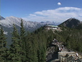 Stock Video Footage of Sulphur Mt Lookout pan to Mt Rundle