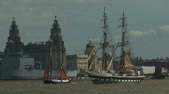 Tall ships sail up the River Mersey Stock Footage